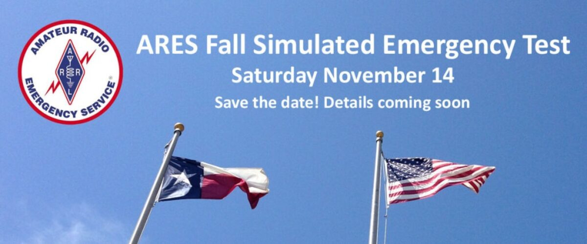 ARES Fall Simulated Emergency Test Saturday November 14 - Save the date!