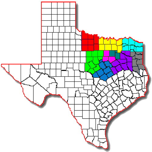 ARRL North Texas Section Map